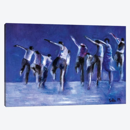 Blue Dance Troop 3-Piece Canvas #SBM1} by Sebastien Montel Canvas Art Print