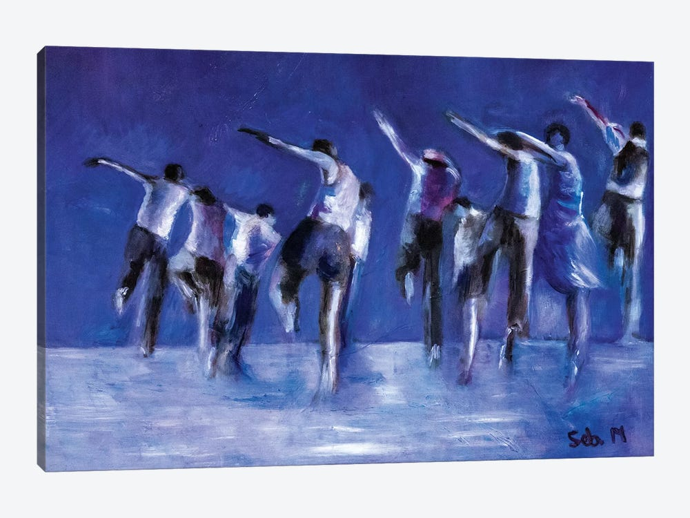 Blue Dance Troop by Sebastien Montel 1-piece Canvas Art