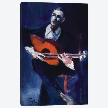The Guitarist Canvas Print #SBM24} by Sebastien Montel Canvas Artwork