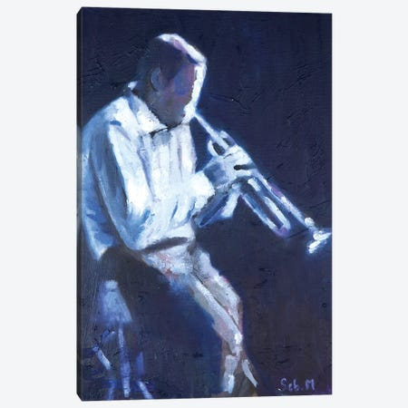 Midnight Trumpetist Canvas Print #SBM28} by Sebastien Montel Canvas Print