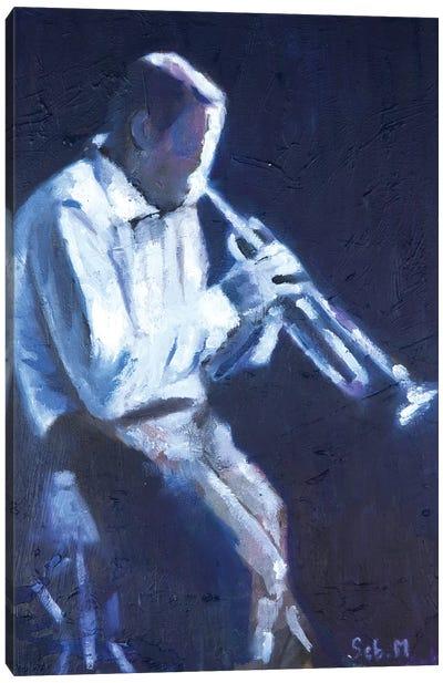 Midnight Trumpetist Canvas Art Print