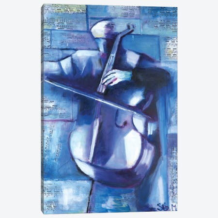 The Cellist Canvas Print #SBM34} by Sebastien Montel Art Print