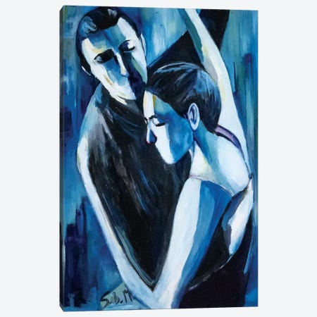 Blue Tango 3-Piece Canvas #SBM4} by Sebastien Montel Canvas Artwork