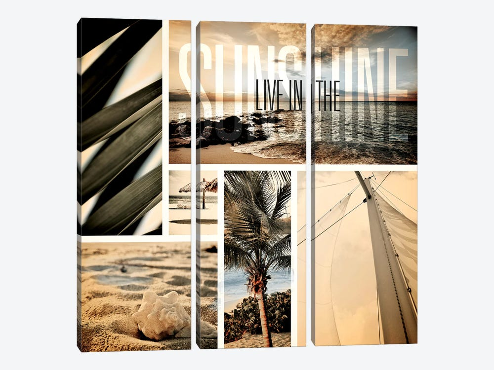 Coastal Collage I by Susan Bryant 3-piece Canvas Art Print