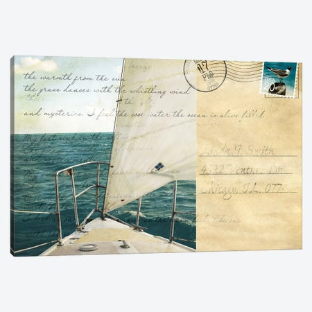 Voyage Postcard I Canvas Print #SBT48} by Susan Bryant Canvas Art