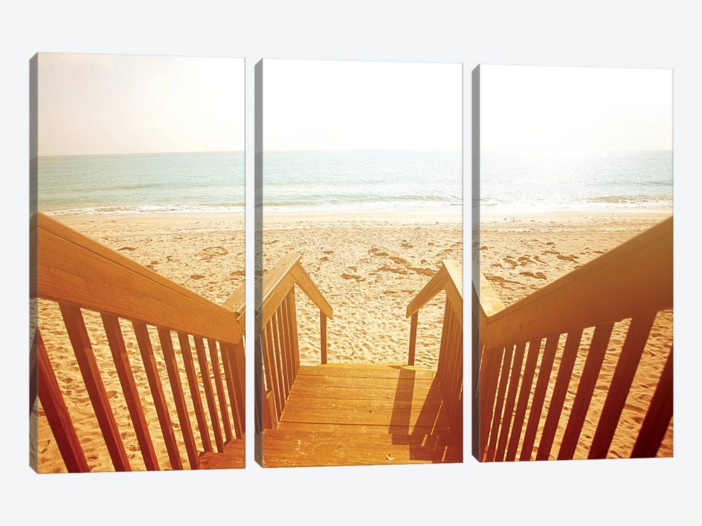 Beach Stairs by Susan Bryant 3-piece Canvas Wall Art