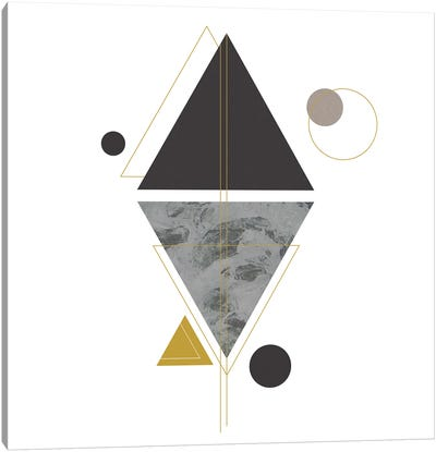Deco Black Triangle Canvas Art Print