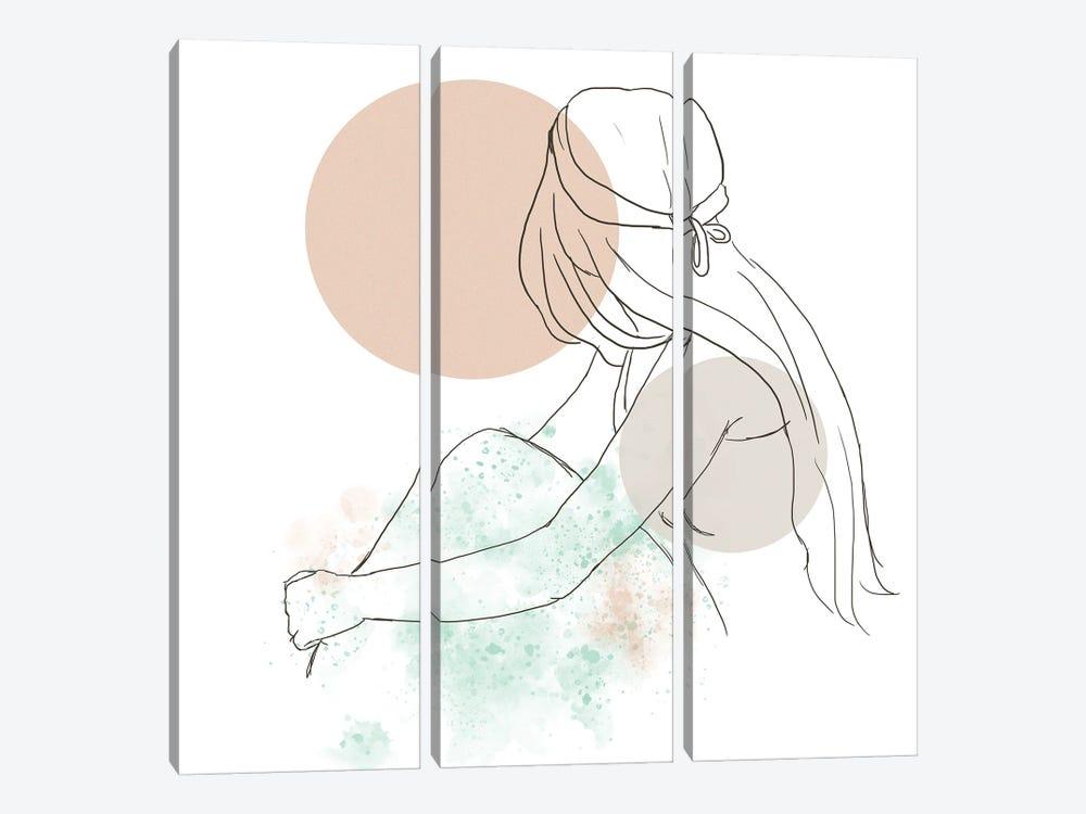 Woman At The Sunset by Sabrina Balbuena 3-piece Canvas Art Print