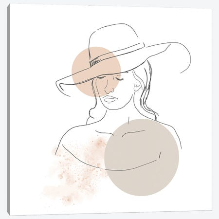 Woman With Hat Canvas Print #SBU17} by Sabrina Balbuena Canvas Art Print
