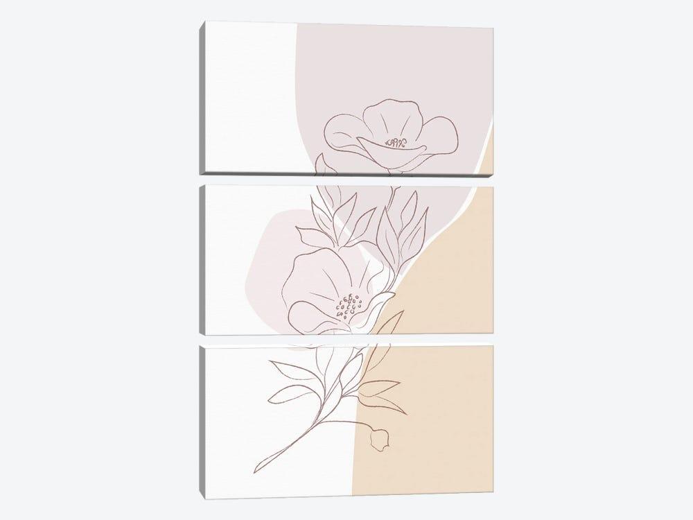 Minimal Magnolia by Sabrina Balbuena 3-piece Canvas Wall Art