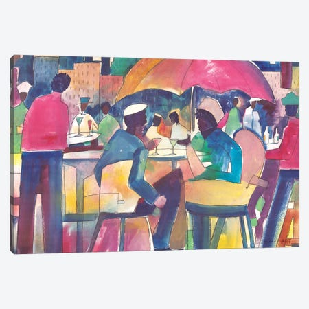 Downtown Dining Canvas Print #SBW3} by Stacey Brown Canvas Art