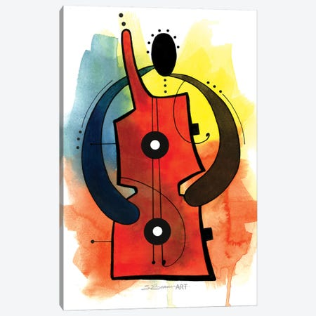 Guitar Man Canvas Print #SBW7} by Stacey Brown Canvas Art Print