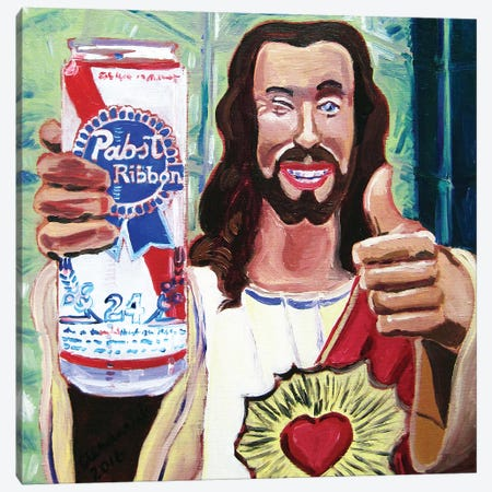 Buddy Christ Canvas Print #SCD11} by Scott Clendaniel Canvas Wall Art