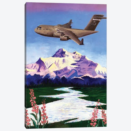 C-17 Plane Over Denali Canvas Print #SCD12} by Scott Clendaniel Canvas Art