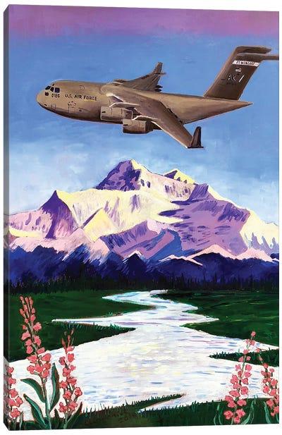 C-17 Plane Over Denali Canvas Art Print