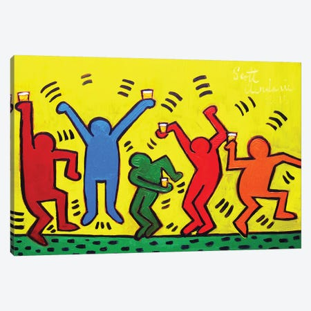Keith Haring Party Canvas Print #SCD28} by Scott Clendaniel Canvas Print