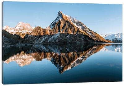 Perfect Reflection Of A Mountain Lake During Sunset Canvas Art Print