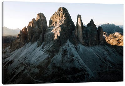 Dolomites Mountains Tre Cime Peaks Sunset In Italy Canvas Art Print