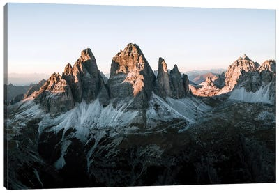 Dolomites Mountains Tre Cime Peaks Sunset In Italy Panorama Canvas Art Print