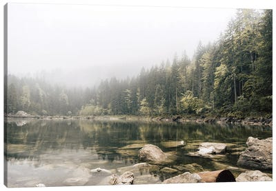 Calm Forest Lake During A Foggy Morning Canvas Art Print