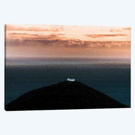 Lone House On A Hill Looking Over The Ocean Onto An Epic Sunset Canvas Print #SCE112} by Michael Schauer Canvas Artwork