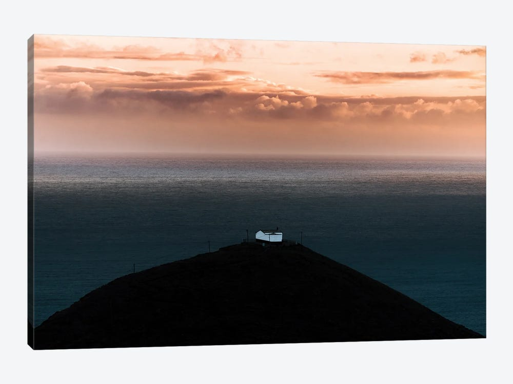 Lone House On A Hill Looking Over The Ocean Onto An Epic Sunset by Michael Schauer 1-piece Canvas Wall Art