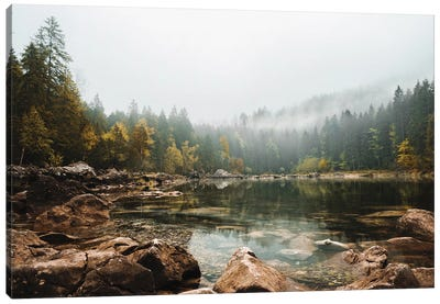 Calm Forest Lake During A Foggy Autumn Morning Canvas Art Print