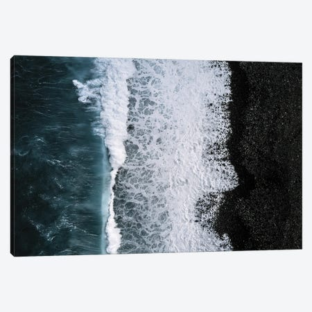 Black Sand Beach Being Hit By A Wave From Above Canvas Print #SCE122} by Michael Schauer Canvas Print