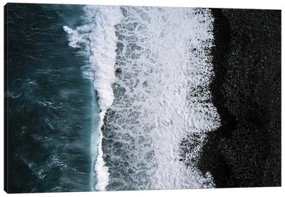 Black Sand Beach Being Hit By A Wave From Above Canvas Art Print