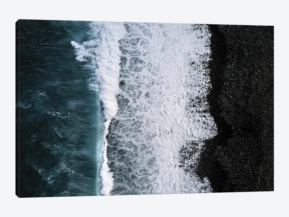 Black Sand Beach Being Hit By A Wave From Above by Michael Schauer 1-piece Canvas Art Print
