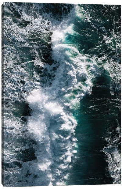 Crashing Wave In Ireland From Above Canvas Art Print