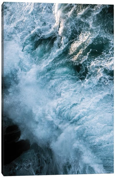 Crashing Waves In Ireland During Sunset From Above Canvas Art Print