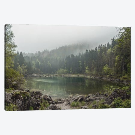 Calm Forest Lake During A Foggy Morning With Perfect Reflection Canvas Print #SCE12} by Michael Schauer Canvas Art Print