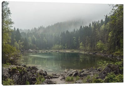 Calm Forest Lake During A Foggy Morning With Perfect Reflection Canvas Art Print
