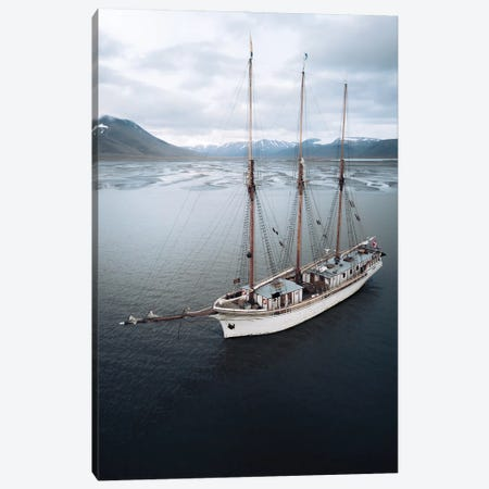 Sailing Ship Anchored In Svalbard In Front Of A Glacial River Delta Canvas Print #SCE145} by Michael Schauer Canvas Wall Art