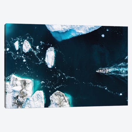 Small Boat Driving Through Huge Icebergs In Greenland Canvas Print #SCE148} by Michael Schauer Art Print