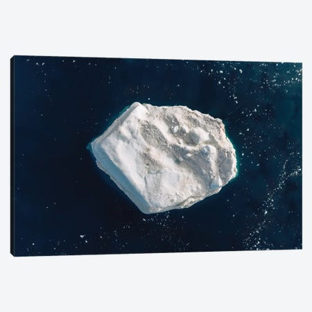 Lone Iceberg In Greenland From Above Canvas Print #SCE149} by Michael Schauer Canvas Print