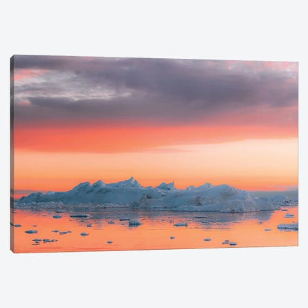 Magical Iceberg Scene During A Burning Sunset Canvas Print #SCE153} by Michael Schauer Canvas Wall Art