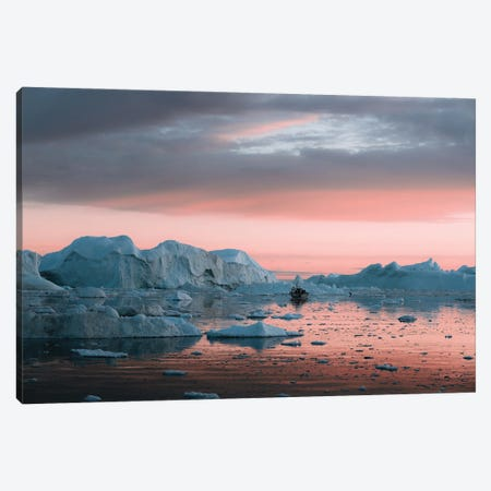 Ship Floating In Silence Through Icebergs In Greenland Canvas Print #SCE154} by Michael Schauer Canvas Art Print