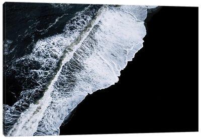 Crashing Wave In Iceland On A Black Sand Beach Canvas Art Print