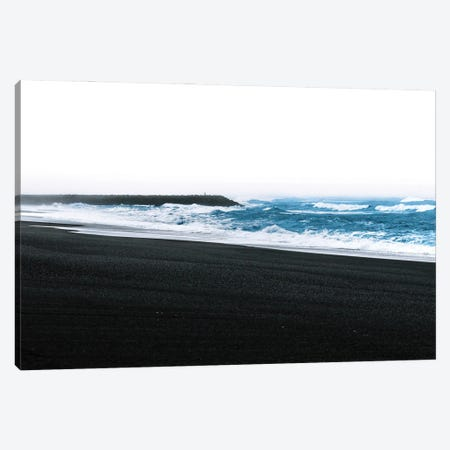 Waves Coming Onto The Black Sand Beach In Vík Iceland Canvas Print #SCE160} by Michael Schauer Canvas Print