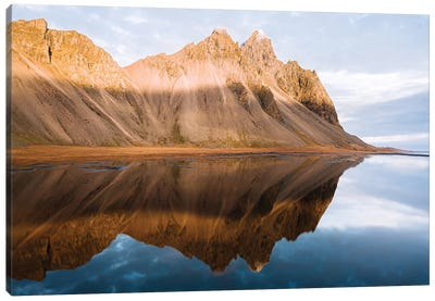 Perfect Reflection Of Vestrahorn Mountain In Iceland During Sunset Canvas Art Print
