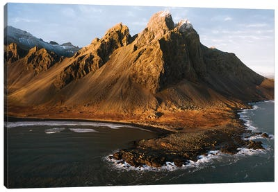 Vestrahorn Mountain By The Atlantic Ocean In Iceland Seen From Above During Sunset Canvas Art Print
