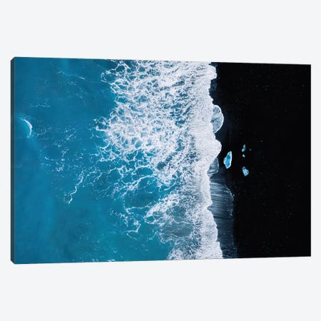 Abstract And Minimalist Black Sand Beach With Waves With Chunks Of Ice In Iceland Canvas Print #SCE170} by Michael Schauer Canvas Art