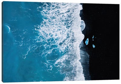 Abstract And Minimalist Black Sand Beach With Waves With Chunks Of Ice In Iceland Canvas Art Print
