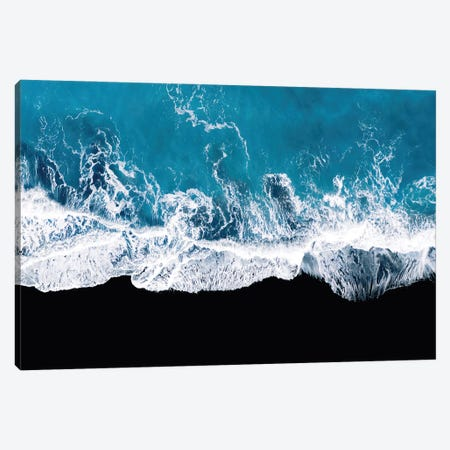 Abstract And Minimalist Black Sand Beach With Waves In Iceland Canvas Print #SCE171} by Michael Schauer Canvas Wall Art