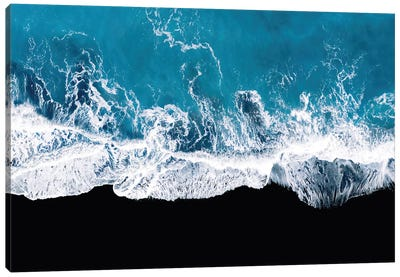 Abstract And Minimalist Black Sand Beach With Waves In Iceland Canvas Art Print