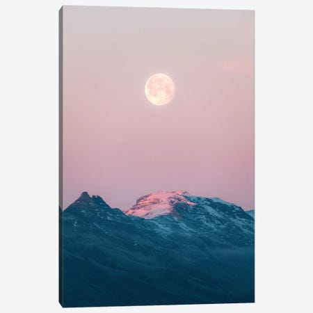 Moonrise Over Mountains During A Calm Sunset In Iceland Canvas Print #SCE172} by Michael Schauer Canvas Artwork