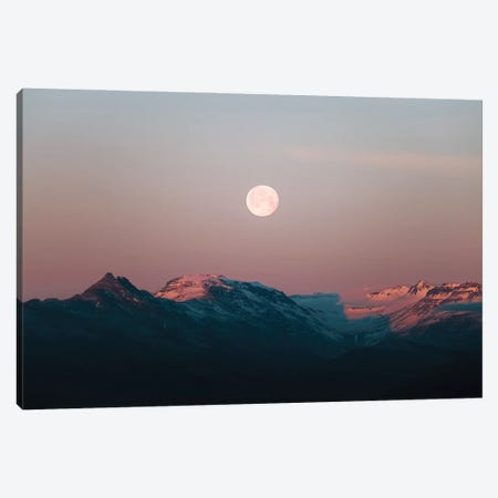 Moonrise Over Pink Mountains During A Calm Sunset In Iceland Canvas Print #SCE173} by Michael Schauer Canvas Artwork