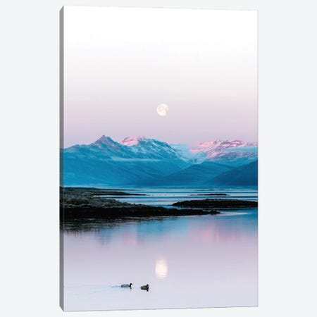 Ducks Swimming In Front Of A Mountain And Moonrise Background In Iceland Canvas Print #SCE174} by Michael Schauer Art Print